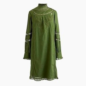 J. Crew Mock Neck Embroidered Shift Tunic Dress Sm